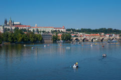 Prague city panorama with Charles Bridge and St. V. Photo of the St. Vitus Cathedral in Prague, Czech republic Stock Image