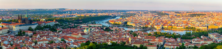 Prague city panorama at sunset, high resolution image, Czech Republic. Royalty Free Stock Photos