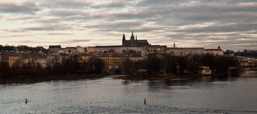 Prague city panorama with Vltava river and Prague castle Royalty Free Stock Image