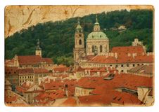 Prague city postcard Stock Photos