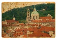 Prague city postcard. Prague city on isolated postcard Stock Photos