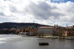 Prague city by river Vltava Royalty Free Stock Photos
