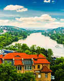 Prague city river from Vysehrad hill Stock Photo