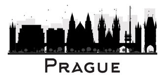 Prague City skyline black and white silhouette. Royalty Free Stock Photo