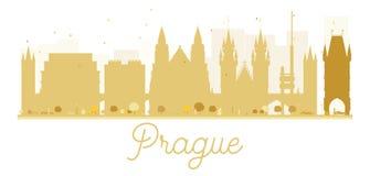 Prague City skyline golden silhouette. Stock Photography