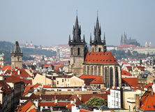 Prague, city skyline view and the Powder Tower Stock Photography
