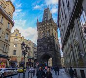 The prague city and the square of Orloi stock photo