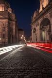 Prague city street lights at night, Czech Republic Royalty Free Stock Images