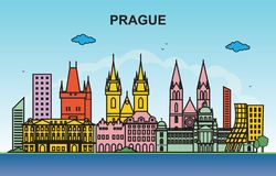 Prague City Tour Cityscape Skyline Colorful Illustration stock illustration