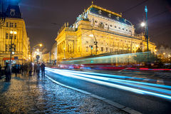 Prague with city traffic, Europe Royalty Free Stock Photography