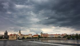 Prague city view, dramatic cloudy weather stock photography