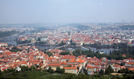 Prague City View from Petrin lookout tower Stock Images