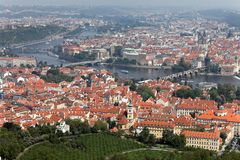Prague City View from Petrin lookout tower Stock Photo