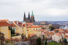 Prague city view. View to the streets and churches in the old center of Prague - the capital and largest city of the Czech Republic - travel background Royalty Free Stock Images
