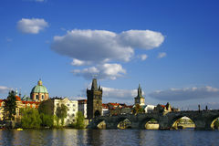 Prague city view with Vltava river and bridge Stock Images