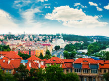 Prague city from Vysehrad hill Stock Photography
