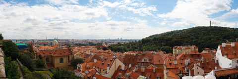 Prague cityscape. Panoramic view of the rooftops of the beautifully baroque city of Prague stock photos