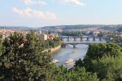 Prague cityscape. View on Prague - Vltava river with bridges Stock Image