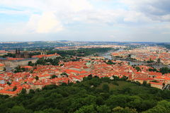 Prague cityscape. View on Prague with Vltava river and Prague castle Stock Photo