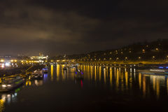 Prague cityscape and bridges over the Vltava river in winter at night from Prague castle Stock Photography