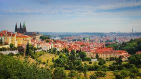 Prague cityscape with Castle, river Vltava and famous sights and historic architecture. Panoramic view of Prague old town royalty free stock image