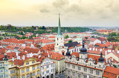 Prague cityscape with characteristic Chech architecture Stock Photography
