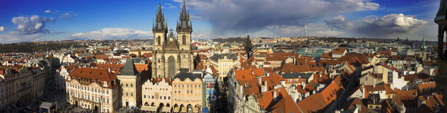 The Prague cityscape with The Church of Mother of God before Tyn Stock Photos