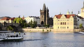 Prague cityscape stock video footage