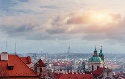Prague cityscape, Czech Republic. Sunny blue clear sky Stock Images
