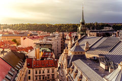 Prague Cityscape. High Angle View. Czech Republic Stock Photos