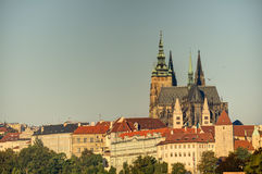 Prague cityscape with historic cityscape & x28;Hradcany area& x29; and the Prague castle during the morning sunrise Stock Photos