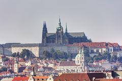 Prague cityscape in late afternoon sun with the Prague castle in the background, Czech republic Stock Photo
