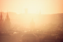 Prague Cityscape on Misty Morning, Retro Toned Royalty Free Stock Image