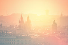 Prague Cityscape on Misty Morning, Retro Toned Royalty Free Stock Photography