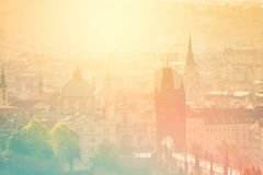 Prague Cityscape on Misty Morning, Retro Toned Stock Photos