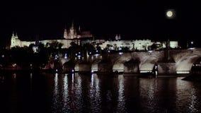 Prague cityscape night stock footage