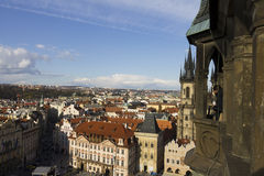 The Prague cityscape at the Old times square Stock Photography