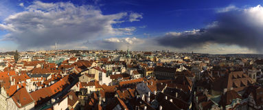The Prague cityscape panorama Stock Photography