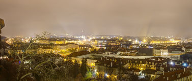 Prague cityscape panorama in winter at night from Prague castle Stock Photography