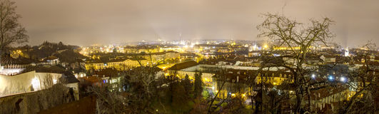 Prague cityscape panorama in winter at night from Prague castle Stock Images
