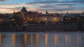 Prague cityscape at sunrise stock video