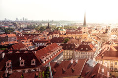 Prague cityscape. View of old town and St. Thomas Church. Czech Stock Photography