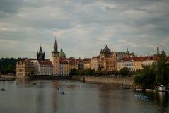 Prague cityscape, Vltava, boats Royalty Free Stock Photos