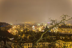 Prague cityscape in winter at night from Prague castle with a large barren tree in the front Royalty Free Stock Photography