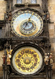 Prague clock. Prague astronomical clock at the Staromestskaya square Stock Image