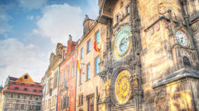 Prague clock tower HDR. Cloudy day Royalty Free Stock Image