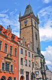 Prague Clock Tower and Old Town Hall. Called Kriz House - Czech Republic Stock Photo