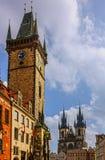 Prague clock tower, old town square, Czech Republic. Stock Photos