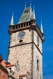 Prague clock tower. On a sunny day Stock Image