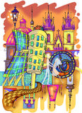 Prague colored drawing Royalty Free Stock Photography